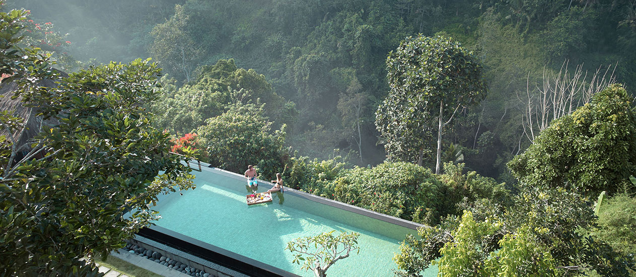 Floating breakfast at Awana Pool andLounge, Kamandalu Ubud, Bali