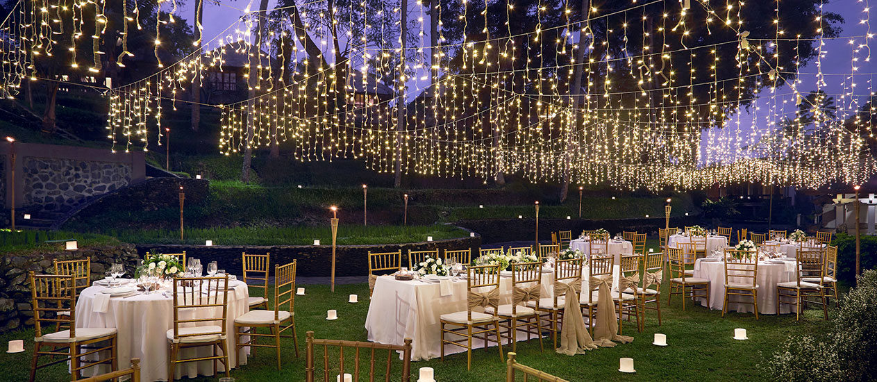 Reception Wedding Dinner at Grass area of Kamandalu Ubud, Bali