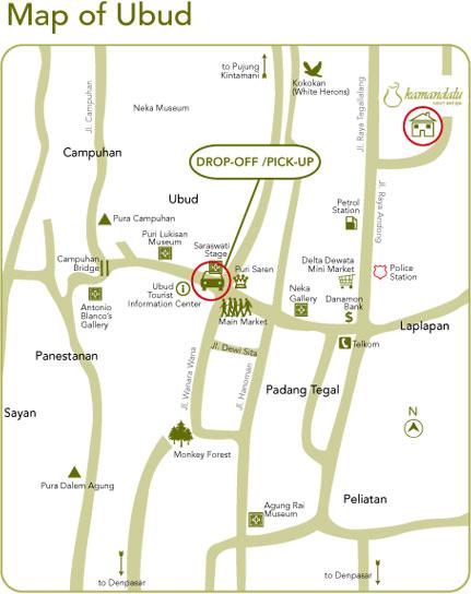 Map Kamandalu Ubud Resort And Spa In Bali